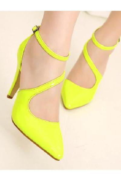 Fluorescent Color Patent Leather High-Heeled Sandals With A Pointed Cross