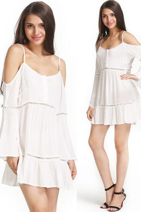 White Chiffon Cold Shoulder Long Flare-Sleeved Short Dress
