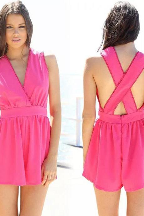 Newest!! Women Hot Back Cross V-Neck Sleeveless Summer Beach Jumpsuit