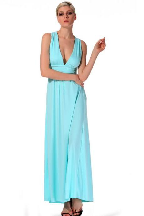 Stylish Lady Women Sexy V-Neck Cross Strap Backless Party Cocktail Long Maxi Dress