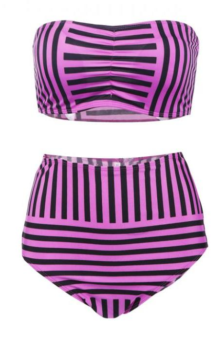 Striped High Waist Slim Bikini