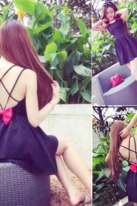 Women Sexy Round Neck Sleeveless Backless Bow Tie Solid A-Line Strap Mini Dress