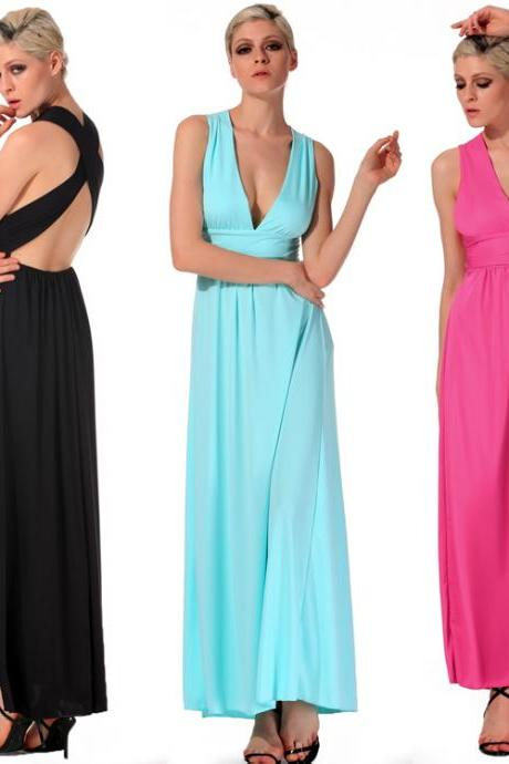 V-Neck Cross Strap Backless Maxi Dress