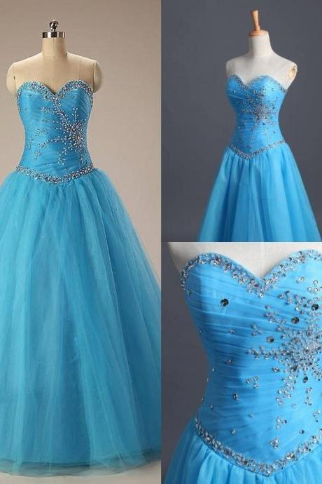 Blue Long Evening Dresses ball gown sequined off the shoulder sleeveless empire floor-length formal for women Prom Party dress 2015