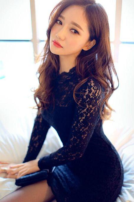 Sexy And Elegant Long Sleeve Black Lace Dress