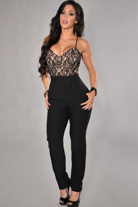 Low-cut V-neck halter waist piece pants