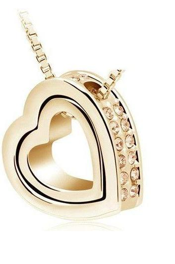 Heart shape pendant gold colored woman necklace