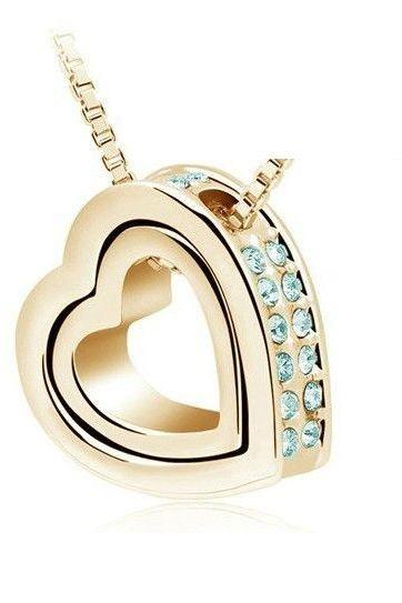 Heart shape pendant blue colored woman necklace
