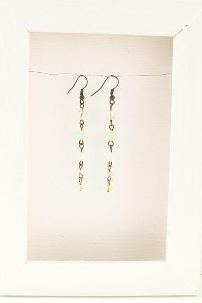 Long dangle earrings with pastel Czech glass - Sweet Candy