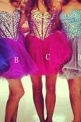 Colorful Short/Mini Beading Homecoming Dresses,Beauty Party Dresses, Sweetheart Real Made Homecoming Dresses, Real Made Graduation Dresses,