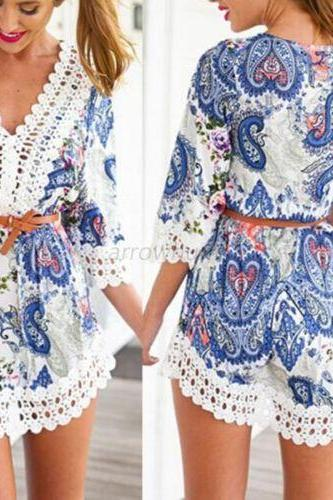 Fashion Boho Women 3/4 Sleeve Beach Dress Floral Print Lace Summer Chiffon Dress