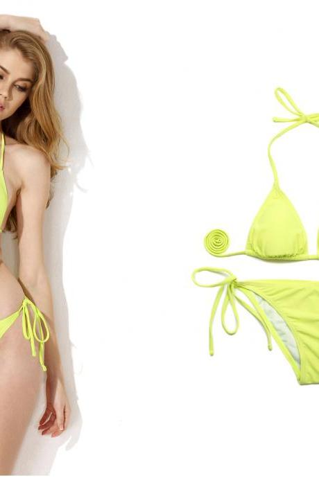 Fashoin SEXY women bikini set Greenish Yellow Triangle Top with Classic Cut Bottom Bikini Swimwear suit Beachwear lady bathing suit 2015