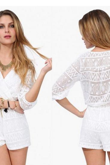 New Sexy Lace Jumpsuit Hot, White Summer Jumpsuit