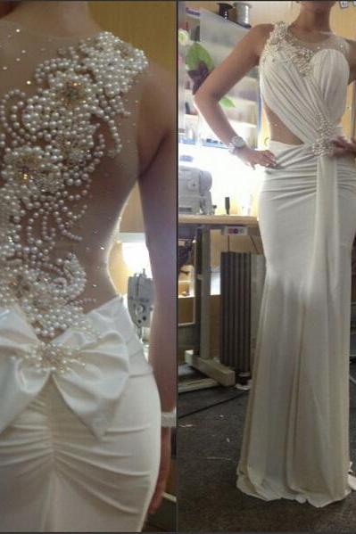 ivory prom dress, beading prom dress, unique prom dress, sexy prom dress, 2015 prom dress, new arrival prom dress, prom dress with bow, gorgeous prom dress, handmade prom dress, evening dress, BD351