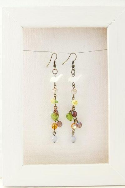 Earrings with shell bird and Czech glass flowers - Summer Meadow
