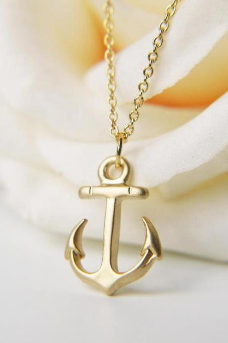 2015 summer fashion cute female Anchor Necklace Matte Gold Small Anchor Necklace Nautical Marine Cruise