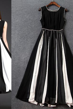 Fashion Classic Black And White Stitching Cultivate One's Morality In The Long Dress Dress