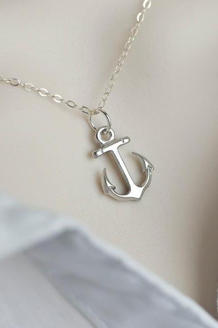 2015 hot sales Anchor Necklace,Minimalist Modern Anchor Necklace,Dainty Silver Anchor Necklace