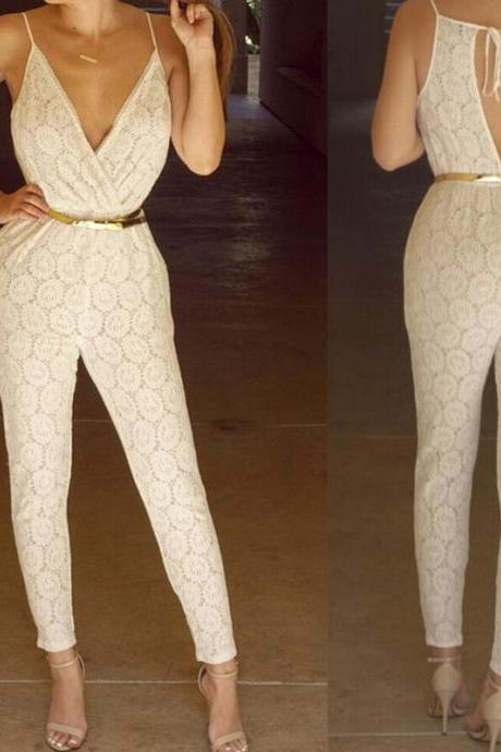 JUMPSUITS CREAM-COLORED V-NECK BACKLESS LACE CULTIVATE ONE'S MORALITY DOES NO BELT