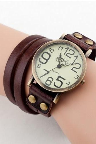 Fashion Leather Bracelet Vintage Dark brown Watch