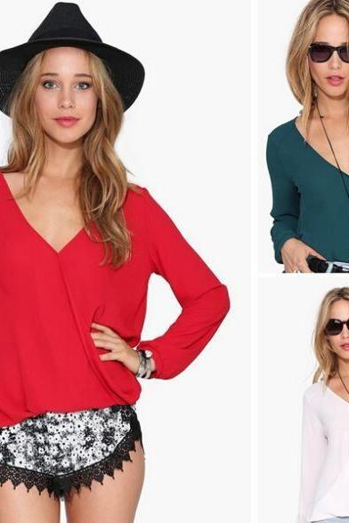 Spring long sleeve V-neck chiffon blouse