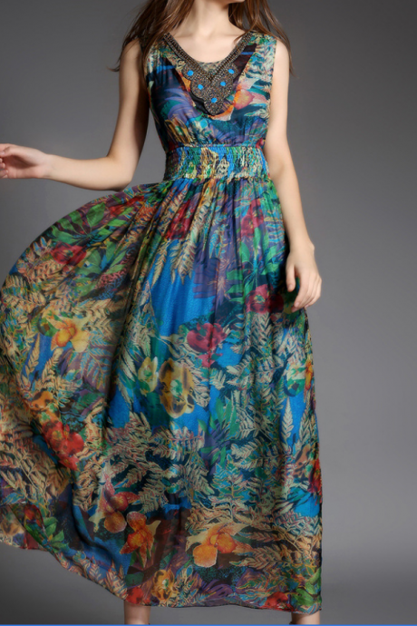 2015 Bohemia New Printing Silk Fiber Beach Dress