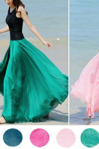 Fashion Glamour Chiffon Graceful Maxi Skirt