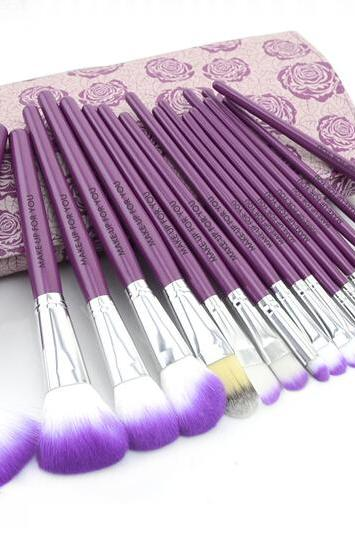 purple Floral 18PCS Professional Makeup Brush Set Make Up Sets Tools With Leather Case