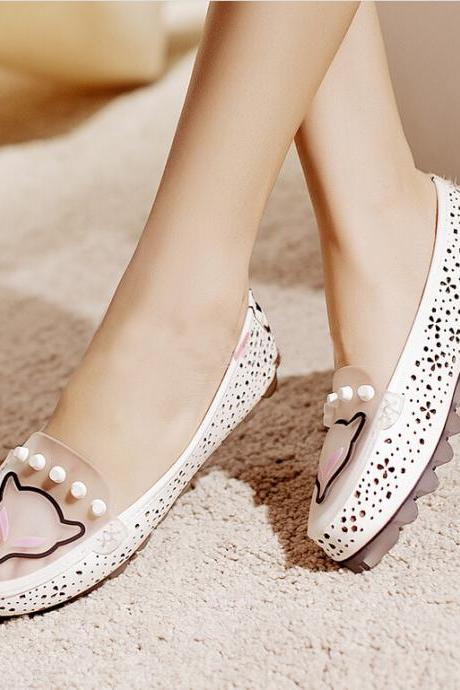 New leather shoes jelly shoes round flat shoes 10