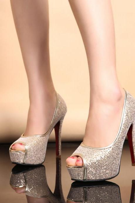 Peep Toe Shimmery Stiletto Pumps