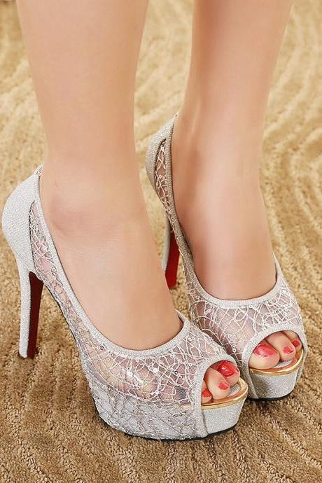 The new hollow fish head shoes fine mesh lace shoes with high heels 7