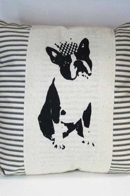 Decorative pillow cushion cover with black and ivory ticking stripe and black frenchie or boston terrier screen print