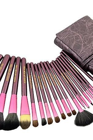 High Quality Goat Hair Makeup 20 PCs Brushes Cosmetic Make Up Set With Leather Bag Kit - Purple