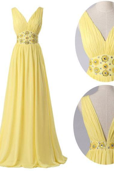 Deep V-Neck Chiffon dress Sexy Long Yellow Chiffon Prom Dresses Ball Evening Dress Gown 2015