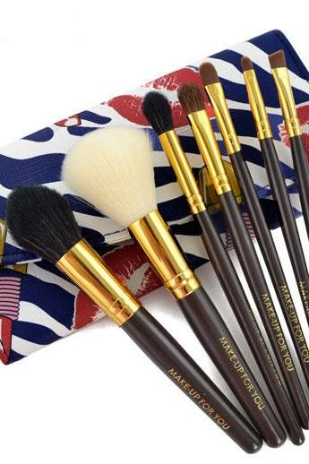New 7 PCS Professional Makeup Brush Set With Leather Case