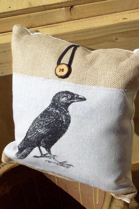 Decorative burlap pillow cushion cover with black crow and raven screen print