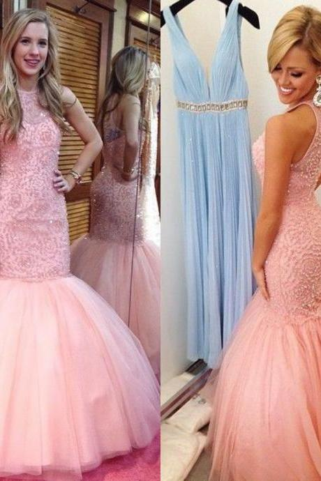 Custom Long Tulle Prom Dress 2015 New Arrival Sexy Mermaid Heavy Beaded Evening Dresses With Keyhole