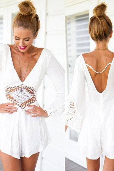 Halter White Lace Jumpsuit