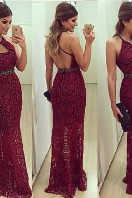 Vestidos 2016 Sexy Women Evening Dresses Sheath Halter Backless Crystals Long Lace Formal Party Dresses Prom Gowns