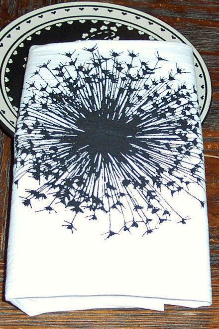 Flour Sack Tea Cotton Tea Towel with Black Screen Print Dandelion Sun Burst Fire Work