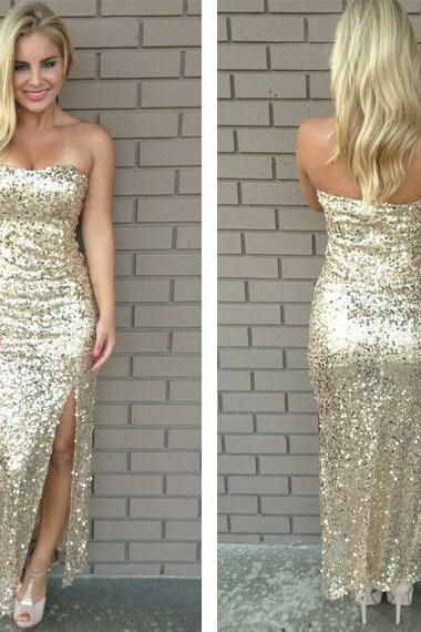 Golden Sequined 2015 Sexy Long Evening Dresses with Side Slit Formal Party Dress,Bridesmaid Dresses