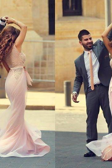 New Arrival Sleeveless Scoop Arabic Evening Dresses Sheath Beading Prom Gowns with Bownot 2015 Custom