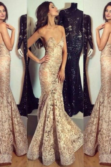 Stylish Sexy 2016 Evening Dress Mermaid with Lace Appliques Charming Party Dress Prom Gowns Custom