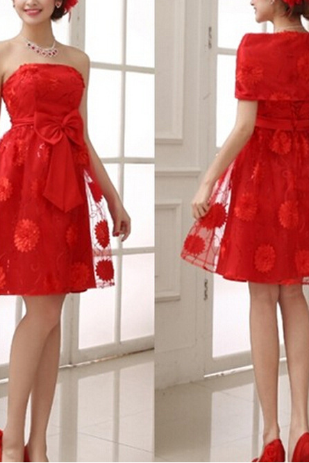 The Thin Red Short Dress Wedding Dress Shoulders To Propose A Toast YFTK