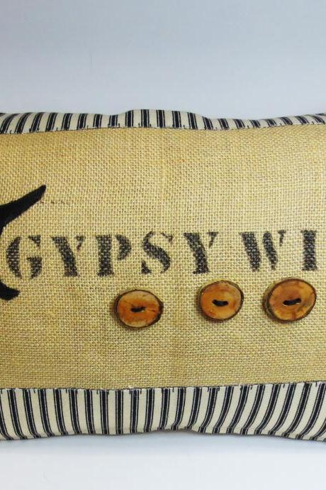 Decorative Kidney Pillow Cushion Cover with Halloween Theme but Can be Used Year Around Gypsy Witch