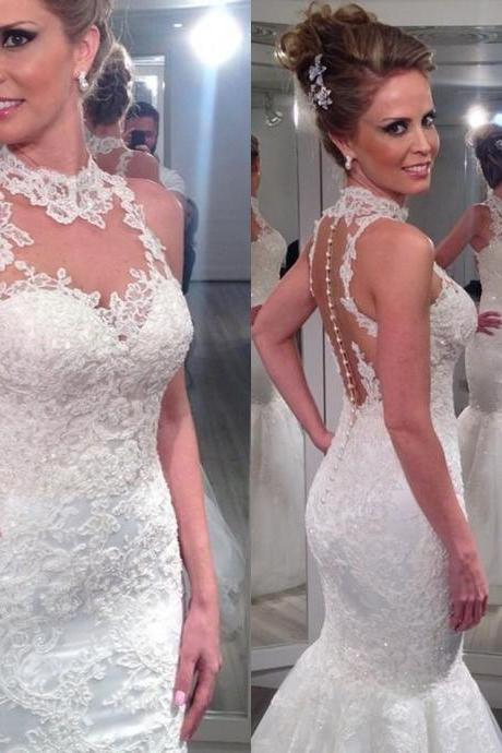 Vestido De Noiva Sereia 2015 Bride Dresses Sexy High Neck Nude Back Lace Mermaid Wedding Dresses Vestido De Renda