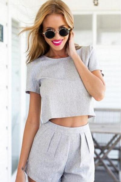 PURE COLOR GRAY MIDRIFF LEISURE SUIT