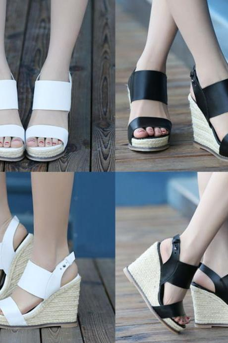 The new slope with high-heeled platform shoes ladies sandals 8