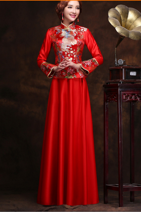 New Dress Cheongsam Red Restoring Ancient Ways Improved Take Long Sleeve Bridal Wedding Wedding Toast YFTK