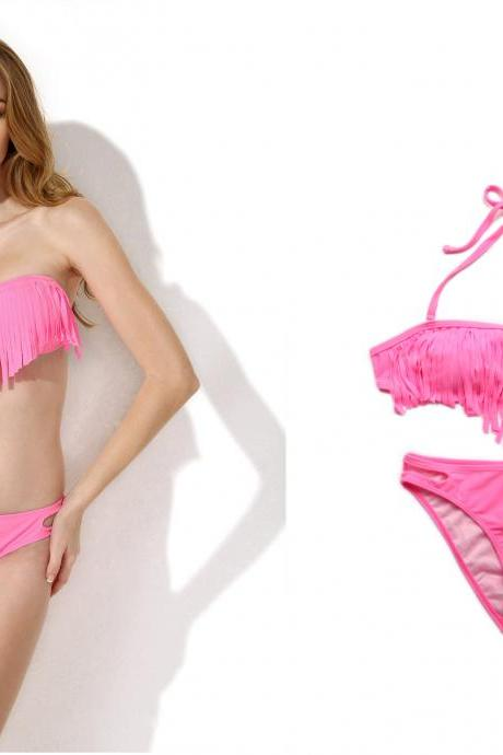 Tassel Bikini Pink Bandeau Top with Fringe Detail at Bust Bikini Swimwear Bathing Swimsuit Set 2015